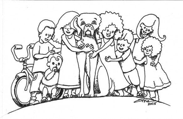 Little kids with a dog. The figures are shaded with cross hatching