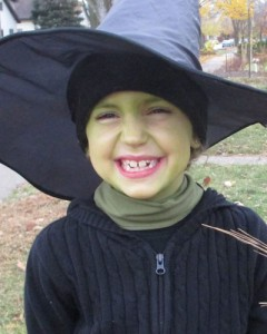 Bethany dressed as a witch