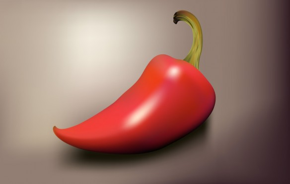Jalapeño pepper drawn with the Gradient Mesh Tool in Adobe Illustrator