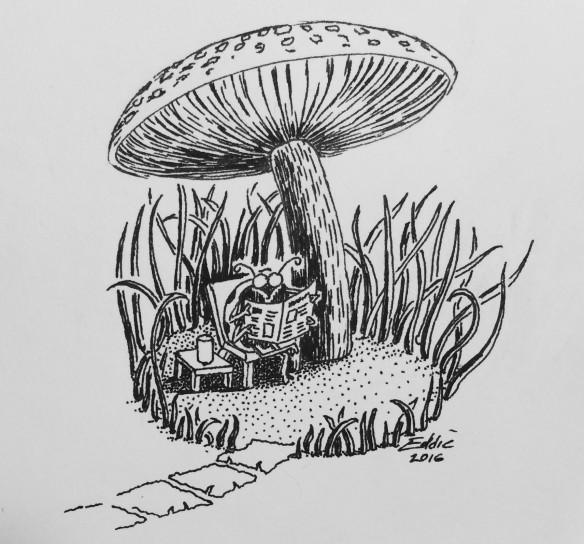 Bug reading under a mushroom