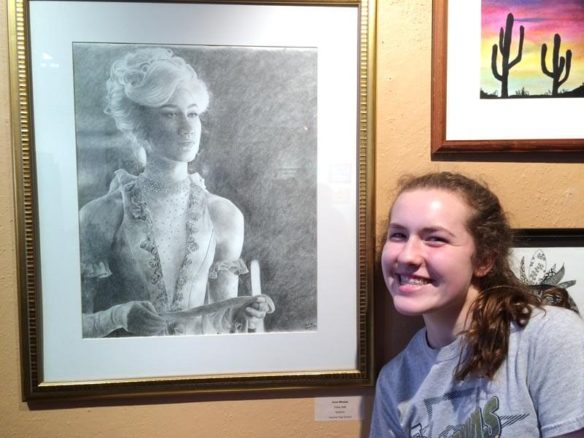 Claire by a drawing of Ann Wheeler