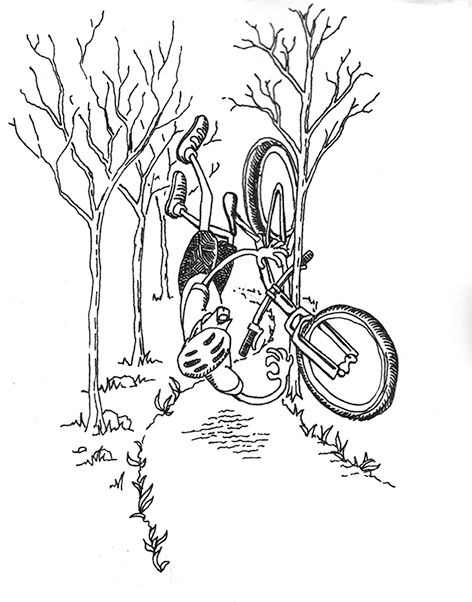 Ink drawing of a mountain biker crashing into a tree